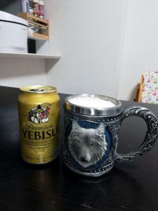 狼のマグカップ エビスビール