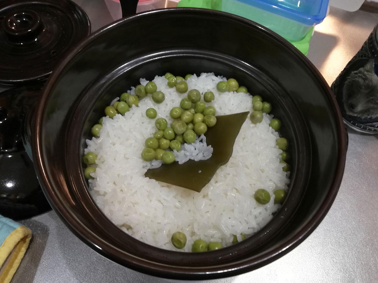 豆ごはん 炊き上がり