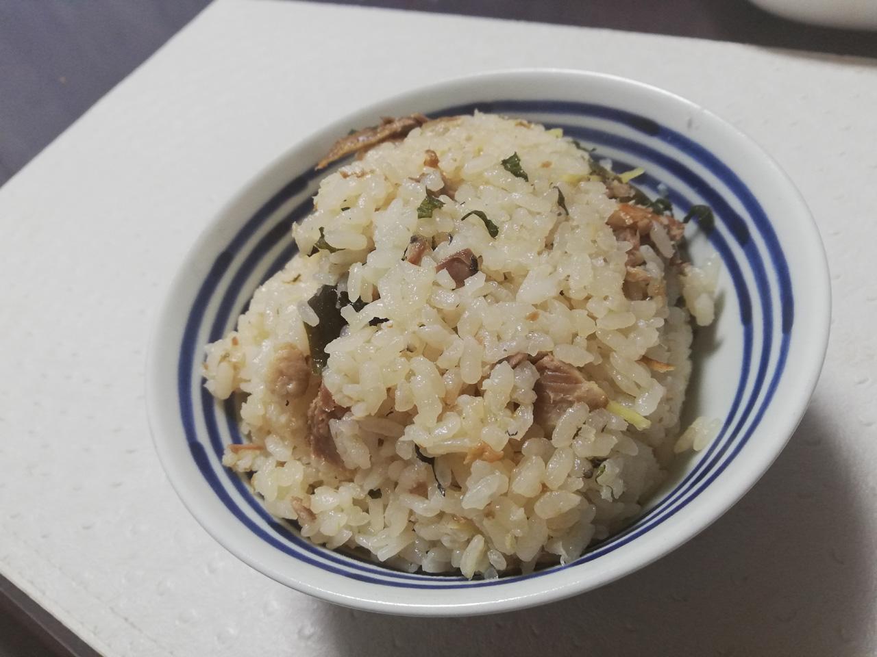 焼き秋刀魚の炊き込みご飯の完成