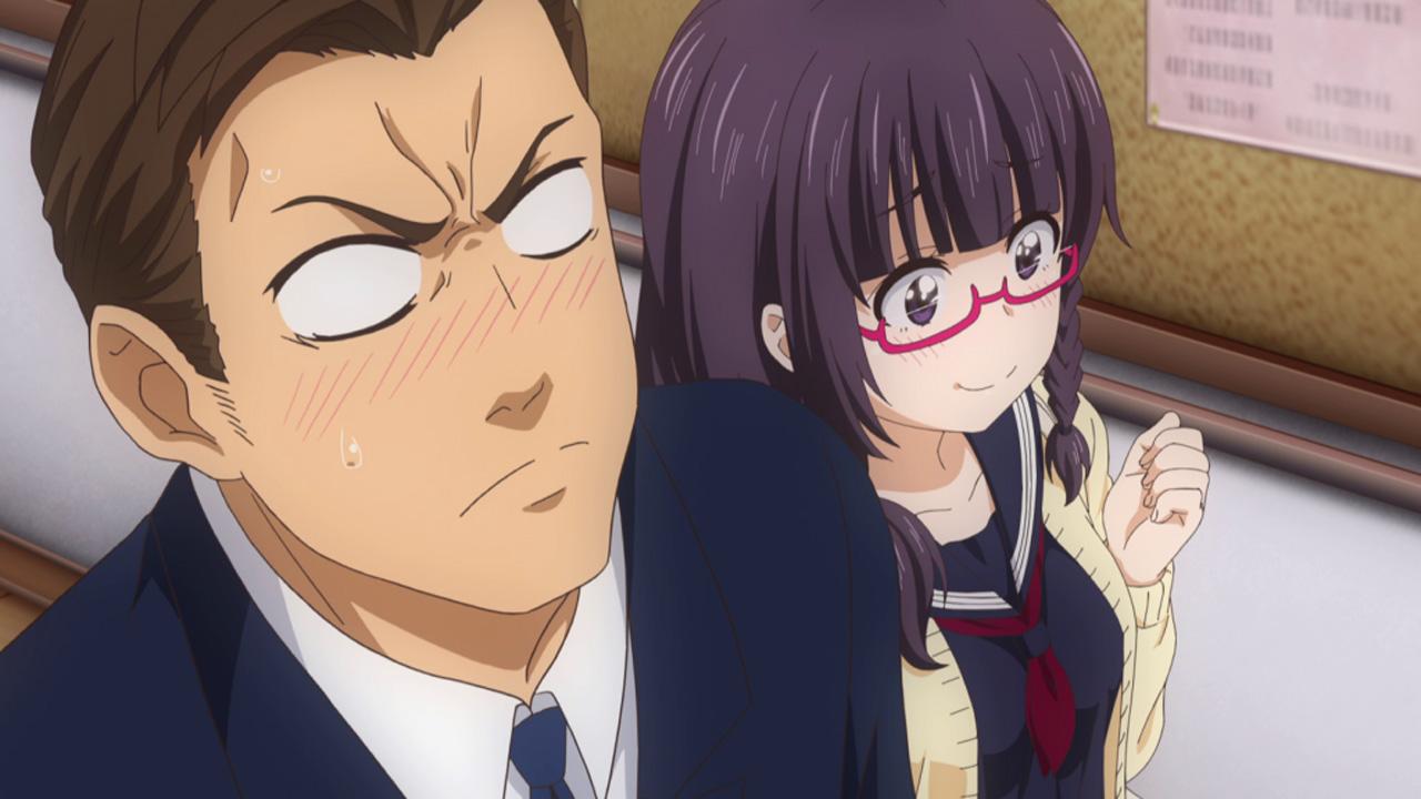 なんここ8話 何故か制服姿の松風先生と歩く鈴木君