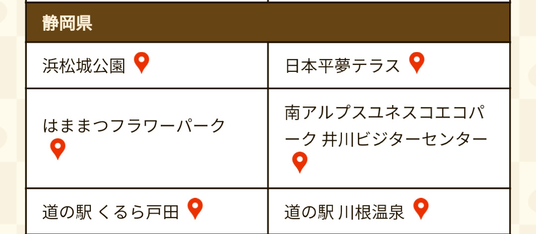 静岡県のもみじこぞう登場場所